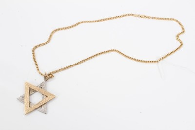 Lot 4 - Yellow and white metal Star of David pendant on 9ct gold chain