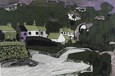 Lot 182 - Graham Clarke (b. 1941) woodprint, Helford number 30/50, framed