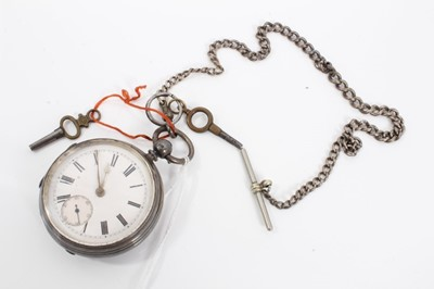 Lot 19 - Victorian silver cased pocket watch on silver watch chain