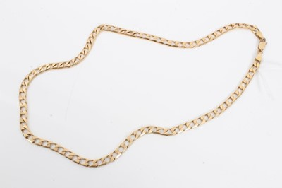 Lot 20 - 9ct gold flat curb link chain
