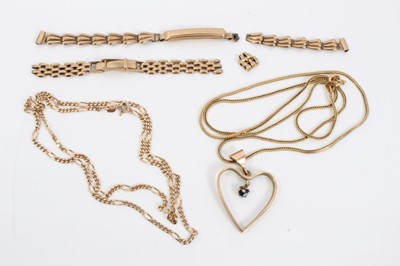 Lot 23 - 9ct gold heart pendant on 9ct gold chain, one other 9ct gold chain and 9ct gold watch bracelet parts