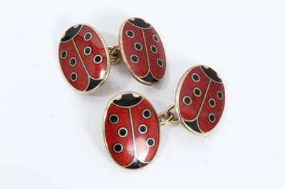 Lot 24 - Pair silver gilt enamelled ladybird cufflinks