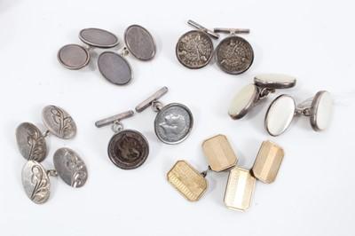 Lot 25 - Six pairs of silver cufflinks