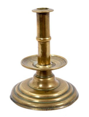 Lot 979 - Rare 17th century brass trumpet form candlestick