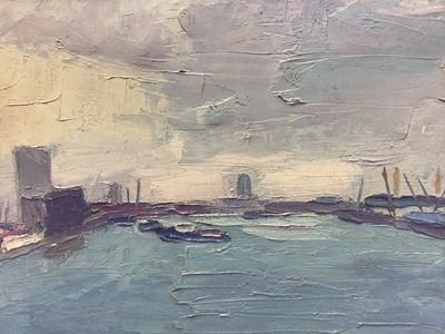 Lot 22 - English School 20th century, oil on canvas - London Dockland scene, signed JB, framed