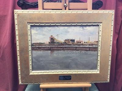 Lot 17 - Vladimir Sosnovski (1921-1990) oil on canvas laid onto board, industrial landscape