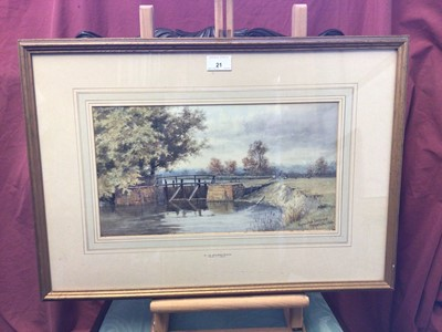 Lot 21 - Charles Harmony Harrison (1842-1902) watercolour 'Byrons Pool, Cambridge, signed and inscribed