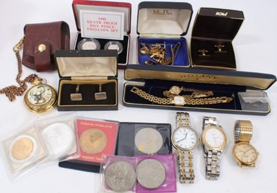 Lot 67 - Ladies 9ct gold Rotary wristwatch, other watches, cufflinks and coins