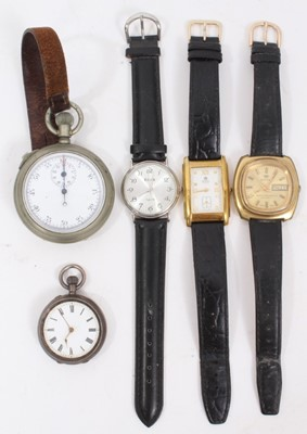 Lot 66 - Early 20th century military stopwatch, silver fob watch and three wristwatches
