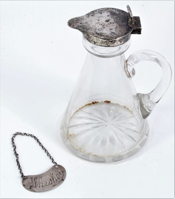Lot 65 - Silver mounted glass whisky decanter and a silver whisky label