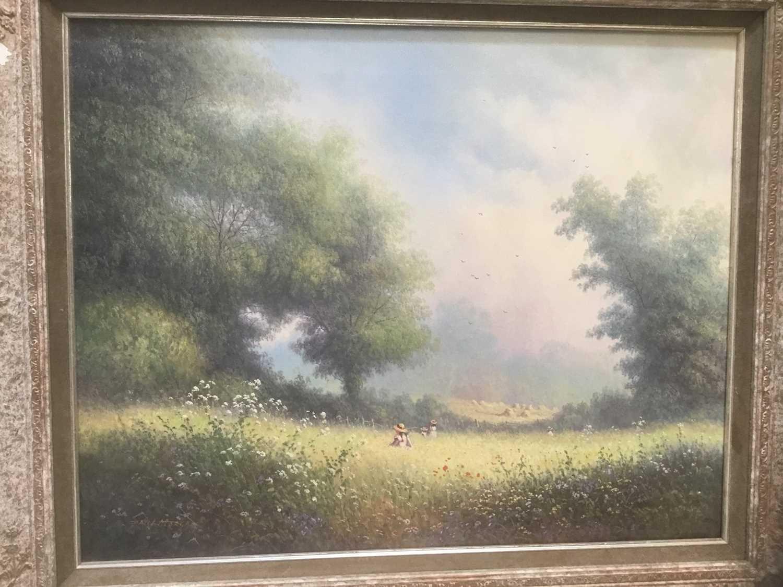 Lot 8 - Paul Morgan (b. 1940) oil on canvas figures in a meadow