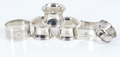 Lot 62 - Six silver napkin rings (various dates and makers)