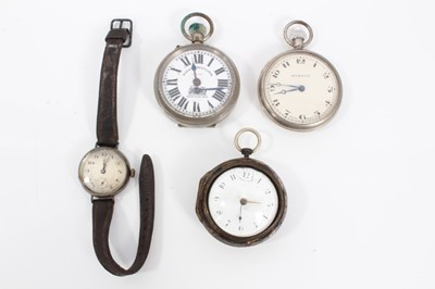 Lot 47 - Georgian pair cased pocket watch in tortoiseshell case, two other pocket watches and vintage silver cased wristwatch