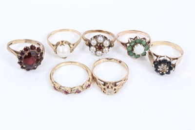 Lot 48 - Seven 9ct gold gem set rings