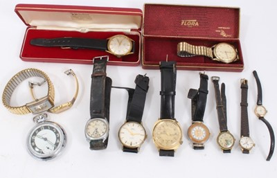 Lot 55 - Group vintage wristwatches including ladies' 9ct gold cased Accurist watch, gold plated gentlemen's Flora watch in case, Avia Olympic, Limit, Sekonda, Seiko and others, plus Ingersoll pocket watch