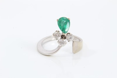Lot 56 - 18ct white gold emerald and diamond ring