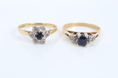 Lot 58 - Two 18ct gold sapphire and diamond rings