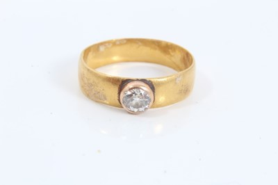 Lot 68 - Gold wedding ring set with an old cut diamond estimated to weigh approximately 0.35cts, Ring size O½
