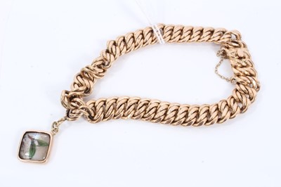 Lot 72 - Early 20th century continental 14ct gold link bracelet with one charm