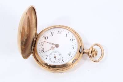 Lot 81 - Early 20th century ladies Swiss 14ct gold cased full hunter fob watch