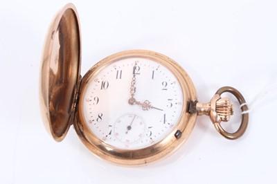 Lot 82 - Early 20th century Gentlemen's Swiss 14ct rose gold cased full hunter pocket watch