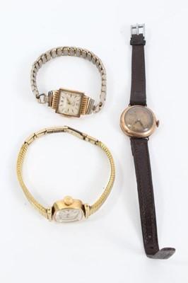 Lot 83 - Three vintage ladies gold wristwatches