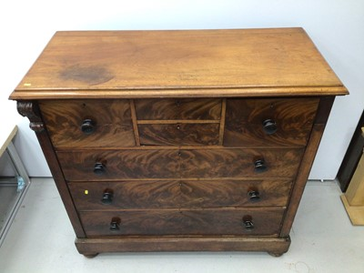 Lot 1 - Victorian mahogany chest of four short and three long graduated drawers, 126cm wide x 55.5cm deep x 123.5cm high