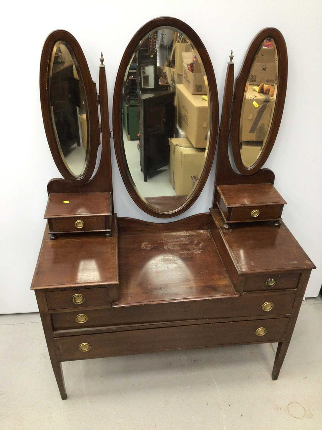 Lot 2 - Edwardian mahogany sunk centre dressing table with raised triple mirror back and four drawers below, 108cm wide x 48cm deep x 153cmn high