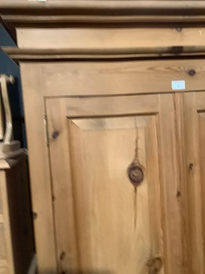 Lot 4 - Modern pine double wardrobe with two panelled doors and drawer below, 97.5cm wide x 63cm deep x 208.5 cm high