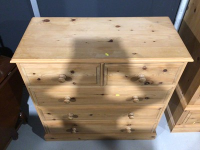 Lot 5 - Modern pine chest of two short and three long drawers, 106cm wide x 50cm deep x 104.5cm high