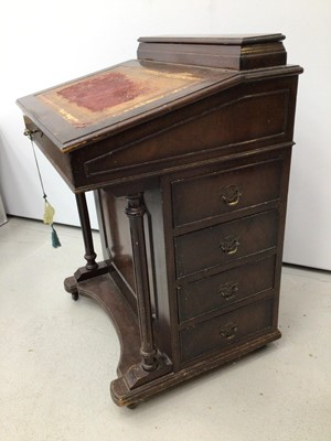 Lot 12 - Victorian mahogany Davenport with lined top and four side drawers, 61cm wide