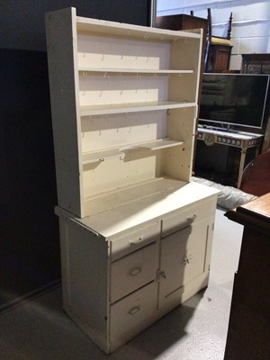 Lot 13 - White painted two height dresser with open shelves, two drawers and two doors below, 104.5cm wide x 51cm deep x 183cm high