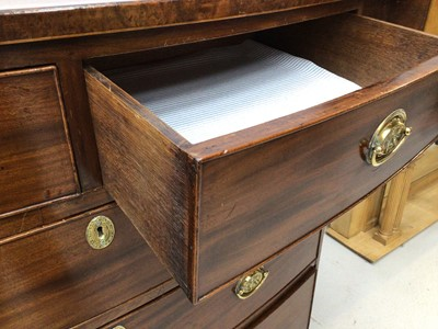 Lot 17 - 19th century inlaid mahogany bowfront chest of two short and three long graduated drawers on splayed bracket feet, 109cm wide x 56.5cm deep x 108cm high