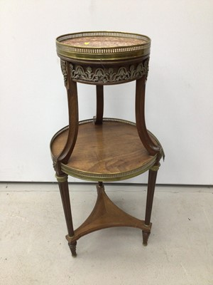 Lot 19 - Mahogany three tier jardinere stand with marble top and brass gallery