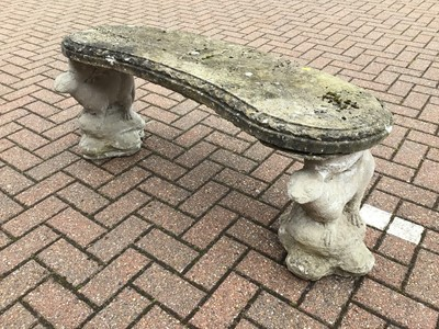 Lot 52 - Concrete garden bench with otter supports 115cm x 47cm