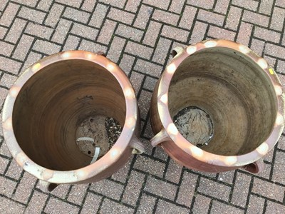 Lot 56 - Pair of large salt glazed stoneware garden pots 63cm high x 55cm diameter