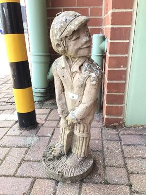 Lot 58 - Concrete garden ornament of a boy playing cricket 66cm high
