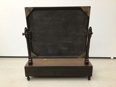 Lot 22 - 19th century mahogany toilet mirror with three drawers below on turned legs, 59cm wide x 65.5cm high