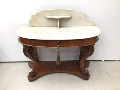 Lot 23 - Victorian mahogany demi line washstand with marble top and splash back on carved cabriole front supports with shaped base, 112cm wide x 53cm deep x 94cm high