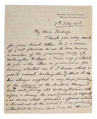 Lot 22 - H.R.H. Prince Edward The Prince of Wales ( later H.M. King Edward VIII and Duke of Windsor ) , handwritten double sided letter to Bertram Pollock The Bishop of Norwich dated 7th November 1918 and w...