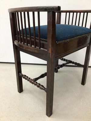 Lot 24 - Victorian mahogany piano stool with blue upholstered seat on tripod base and a tiled top table and another piano stool (3)