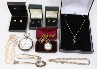 Lot 84 - Three pairs of gold earrings, silver necklaces, cultured pearl necklace and other jewellery