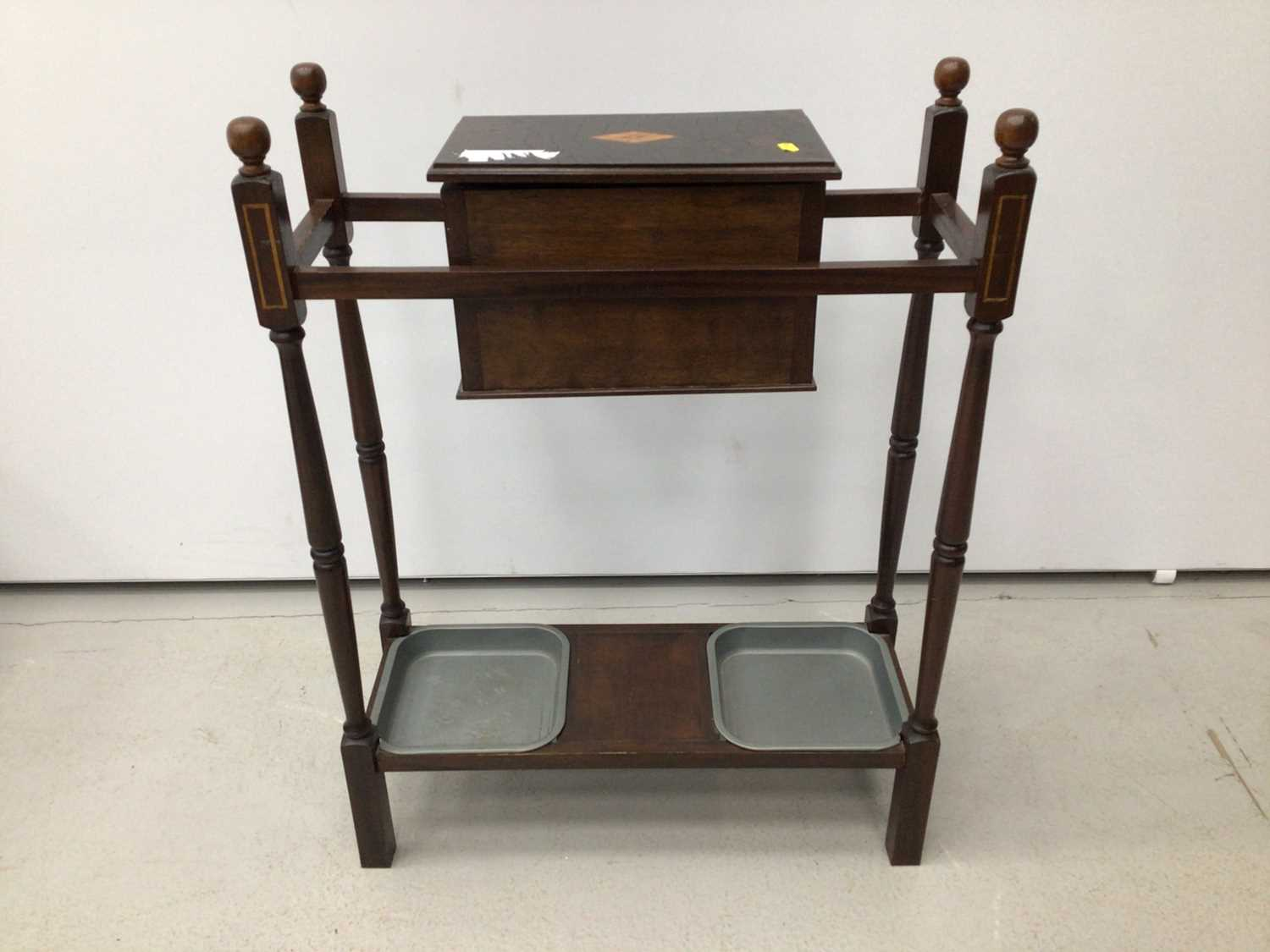 Lot 27 - Small umbrella/stick stand with glove box and two trays below, 60cm wide x 81cm high