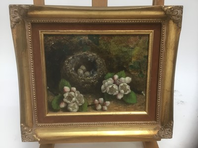 Lot 181 - Mary Ensor (act, 1863-1897)  oil on board, still life of birds nest and flowers
