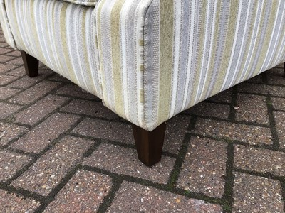 Lot 64 - Contemporary armchair with green, grey and cream striped upholstery 88cm wide x 97cm high