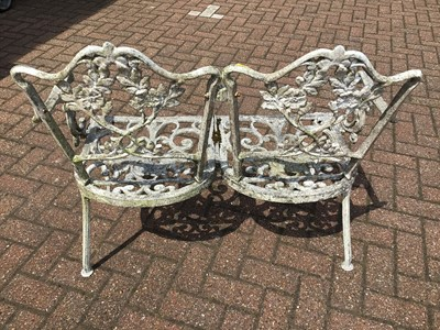 Lot 67 - Aluminium two seater garden bench 91cm wide x 84cm high with a revolving office chair