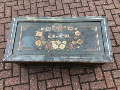 Lot 70 - Old green painted pine blanket box with floral decoration 100cm wide x 48.5cm deep 43cm high