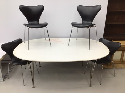 Lot 77 - Fritz Hansen large dining table by Piet Hein on chrome legs 180cm x 122cm with a set of four Fritz Hansen chairs