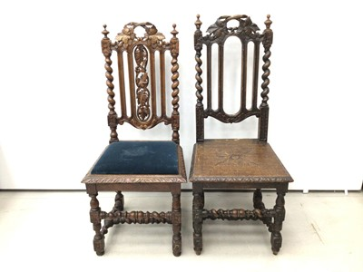 Lot 32 - Two Victorian carved oak chairs with spiral twist supports
