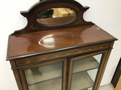 Lot 80 - Edwardian inlaid mahogany display cabinet with bevelled mirrored back 91cm wide x 168cm high